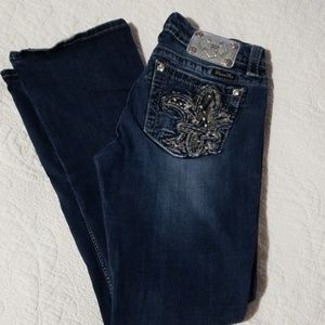 Miss Me Jeans - Miss Me Fancy Midrise Easy Boot Silver Jean's 28